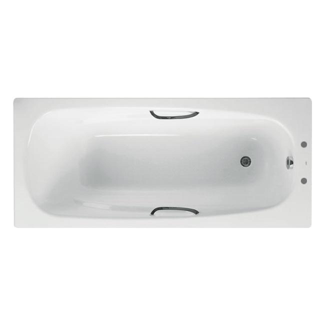 Bathroom Steel Bath 1500//1600//1700 Bathtub with Grip 2 Tap Holes Legs White