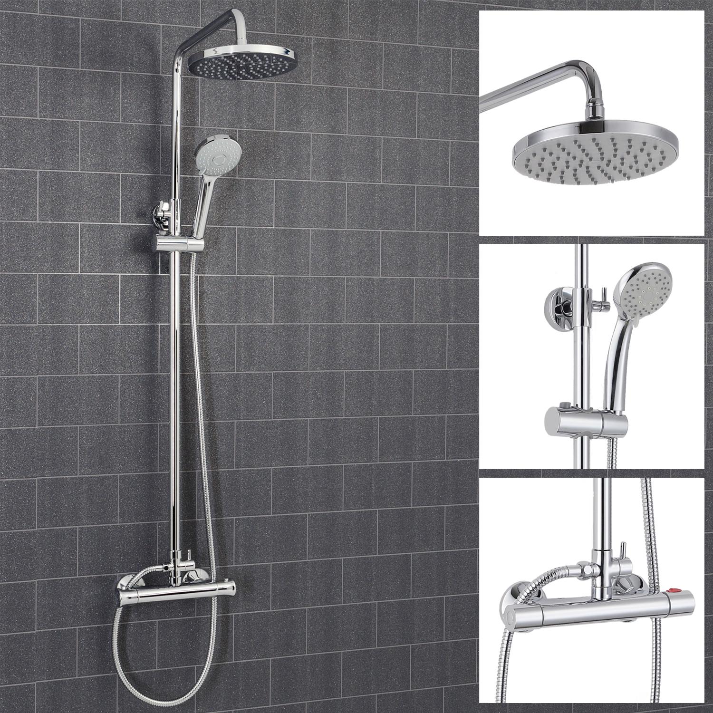 Architeckt Round Thermostatic Mixer Shower Valve & Riser System - Square Drench Head